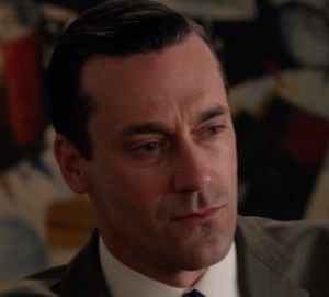 "Close up of Jon Hamm, playing character of Don Draper on AMC's ""Mad Men"""