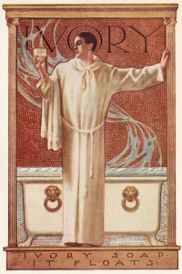 1922 Ivory Soap Ad, priest holding a cake of soap