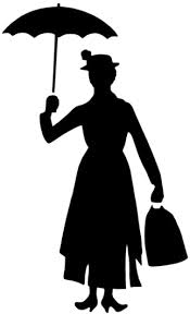 Silhouette of Mary Poppins with Umbrella