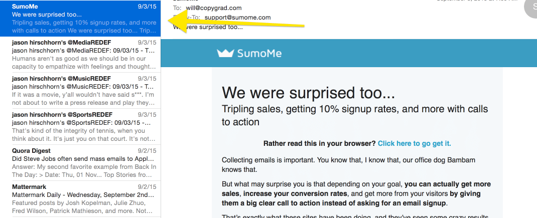 I'm a sucker for SumoMe emails